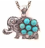 Ketting Boho Olifant Turquoise