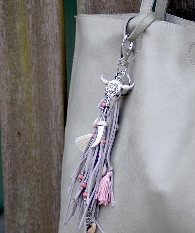 Tas,- Sleutel hanger Bohemian Silver Grey