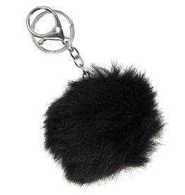 Tas,- Sleutelhanger fluffy Bont Bol Black