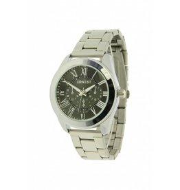 Ernest Horloge Exentric Zilver Zwart