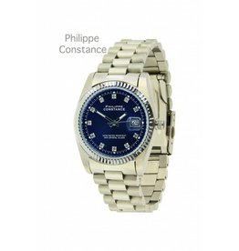 Philippe Constance Horloge Large Silver Serrated Blue