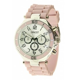 Ernest Horloge Silver Case Light Pink 7036