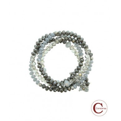 Constansa Plus Size Kralen Armband Taupe / Grey