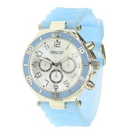 Ernest Horloge Silver Case Light Blue 7043