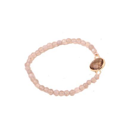A-Zone Elastische kralen armband off white met steen