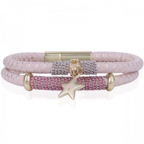 Dubbele armband Star - Zacht Roze