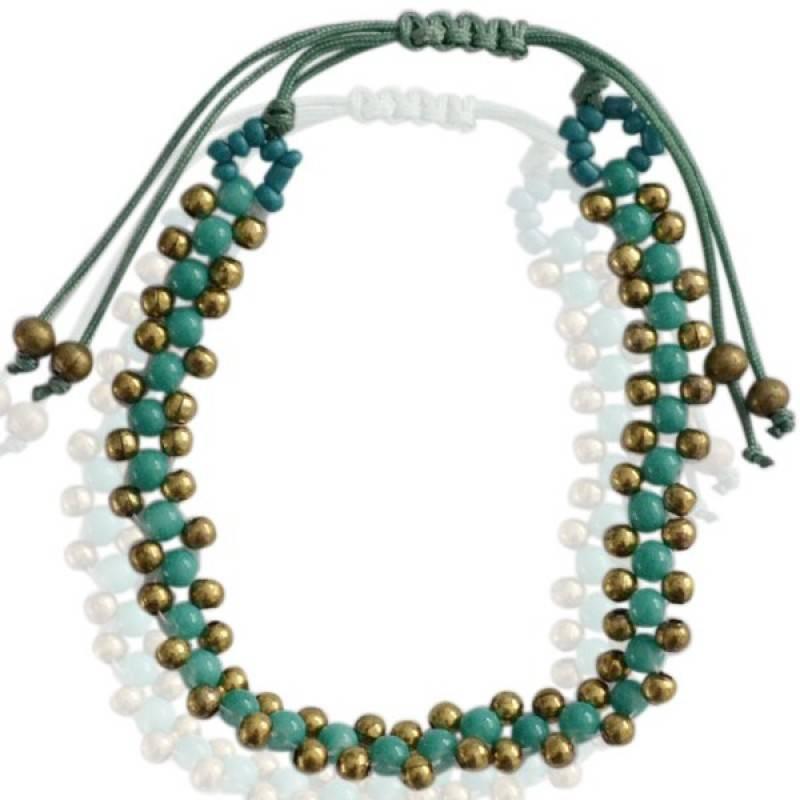 Armband Turquoise Goud met treksluiting