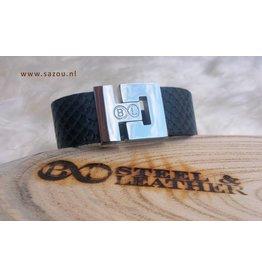 """B & L Lederen Armband """"Snake"""" BL 0587 - 23 cm"""