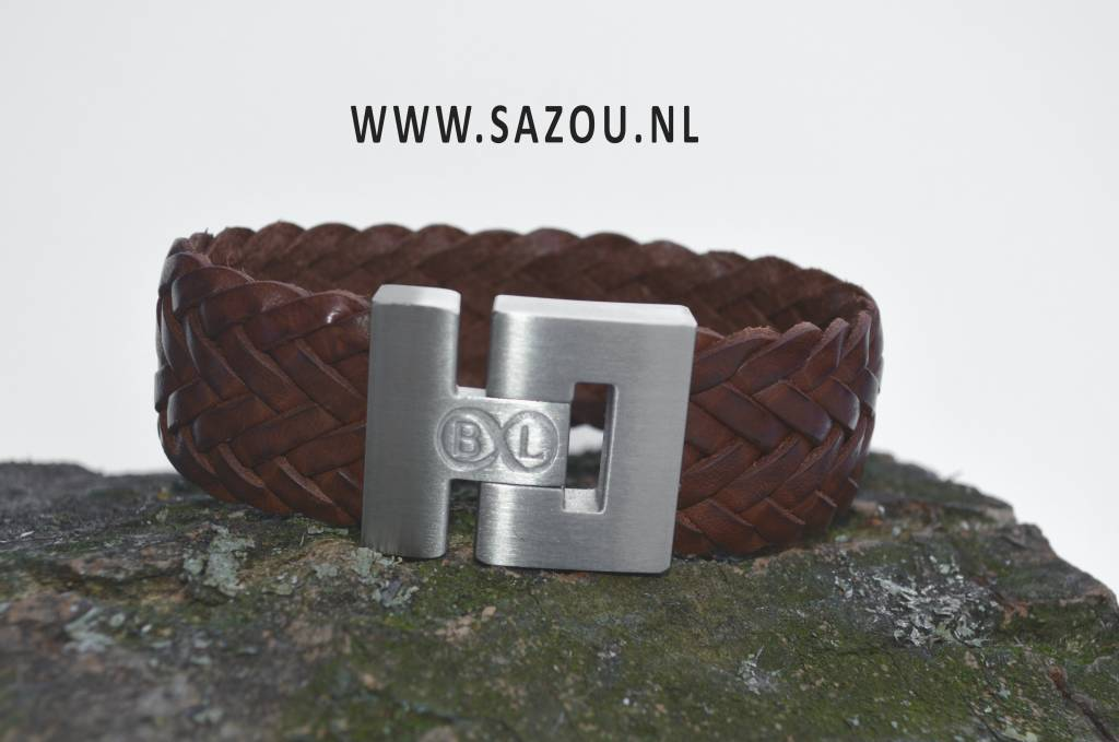 B & L Lederen armband Gevlochten - Cognac BL 4356