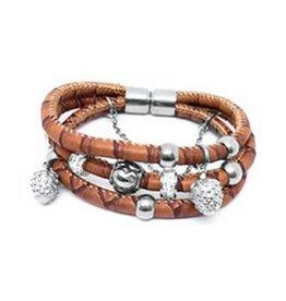 New Bling Armband bruin leer met beads