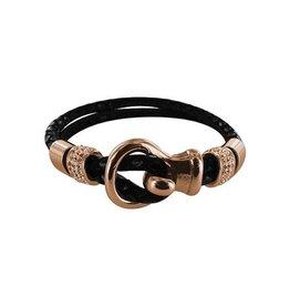 New Bling Armband zwart leer met beads en lus sluiting Rose
