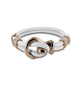 New Bling Armband wit leer met beads en lus sluiting rose