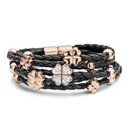 New Bling Armband zwart leer met klaver beads