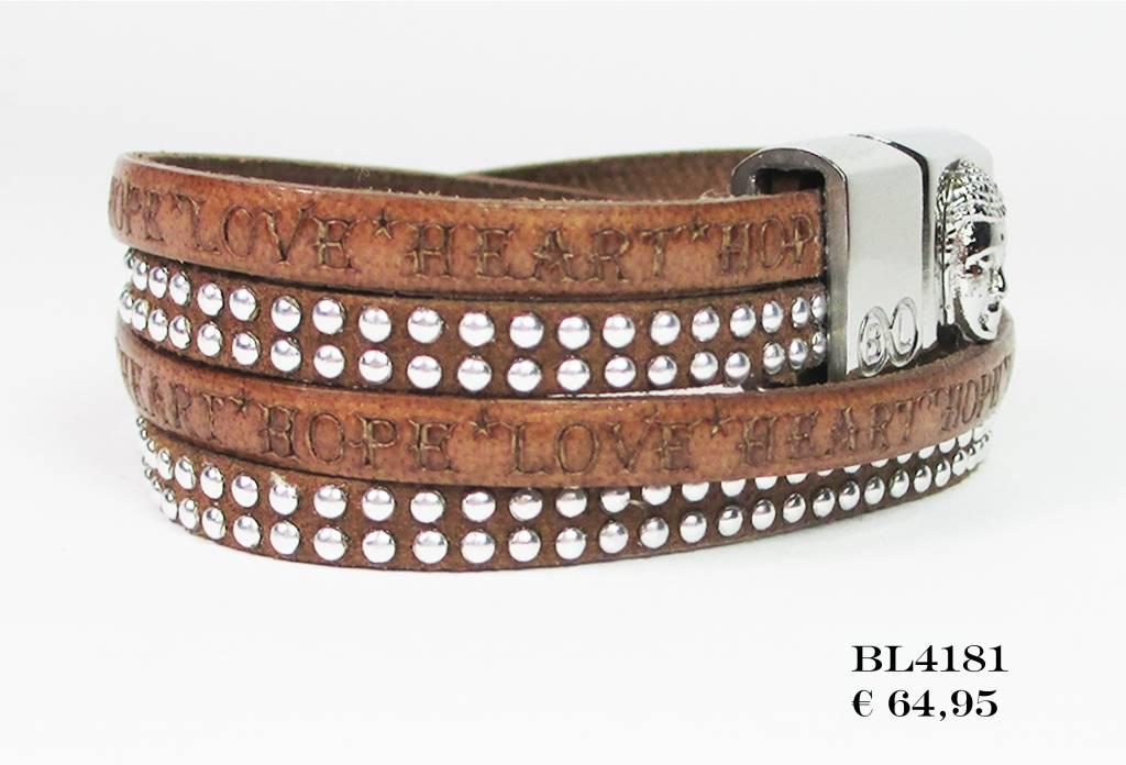 B & L Lederen Wikkel Armband Brown Studs BL 4181