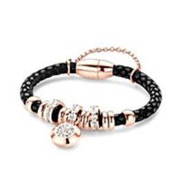New Bling Armband zwart leer met beads en hanger Rose
