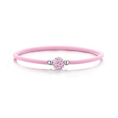 Colori Roze Siliconen armbandje met Zirkonia