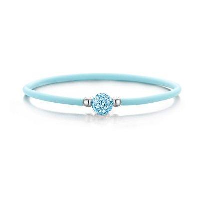 Colori Baby Blue siliconen armbandje met Zirkonia