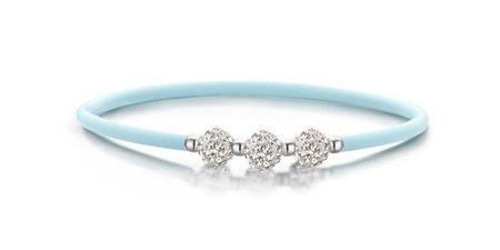 Colori Light Blue Siliconen armbandje met 3 zirkonia balls