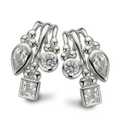 New Bling Zilveren Oorstekers Wit CZ Rhodium