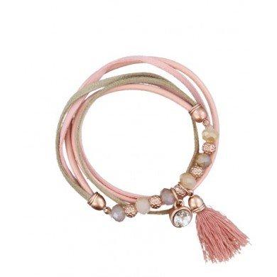 A-Zone Armband Echt Leder Pink Rose met een elastisch deel