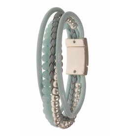 Armband Aqua met Leer en Crystal