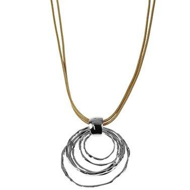 Wax koorden ketting met een hanger van 6 ringen