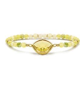 New Bling Zilveren rekarmband Licht Gele Citrien stenen Goudverguld
