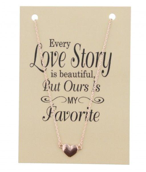 Ketting op Kaart Every Love Story met Hart Bedel Rose Gold