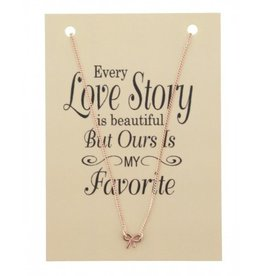 KK-D-C22.3 Kaart Ketting Every Love Story BOW Rose Gold