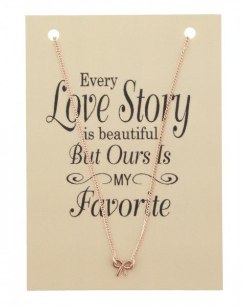 Ketting op Kaart Every Love Story met Strik Bedel Rose Goud