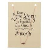Ketting op Kaart Every Love Story met Kruis Bedel Rose Gold