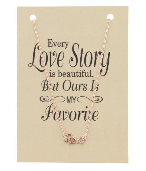 Ketting op Kaart Every Love Story LOVE bedel Rose Gold