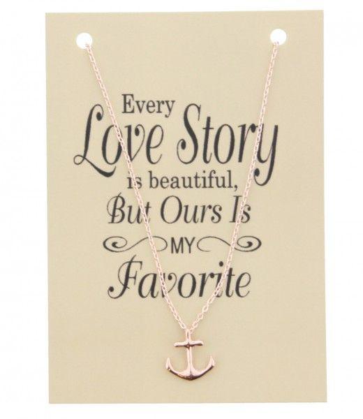 Ketting op Kaart Every Love Story met Anker bedel Rose Gold