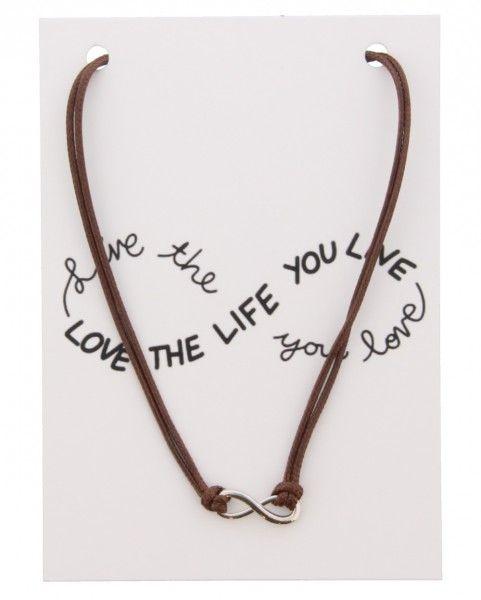 Ketting Op Kaart Love The Life INFINITY Brown