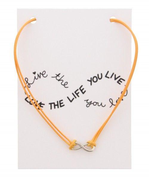 Ketting op Kaart Love The Life INFINITY Orange