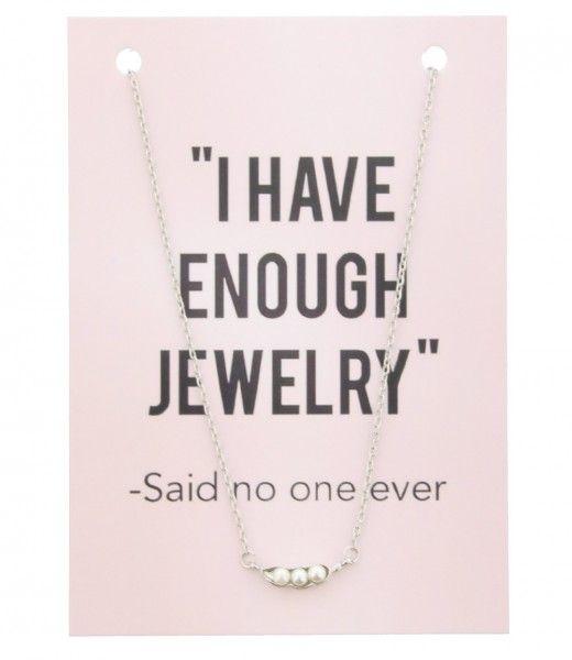 Ketting op Kaart Enough Jewelry PEARLS Silver