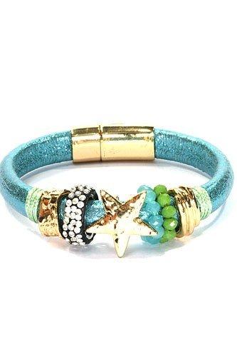 Azuur Blauw leren armband met ster