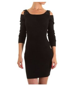Moewy Black Dress met open schouders