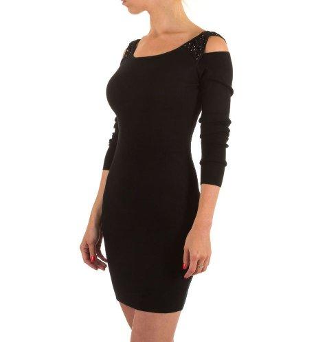 Moewy Black Dress met open schouders