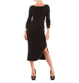 Moewy Black Dress met zijsplit