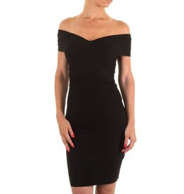 Moewy Black Dress met boothals
