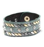 Blauwe armband met Studs en Stras Steentjes