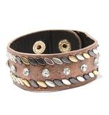 Bruine armband met Studs en Stras Steentjes
