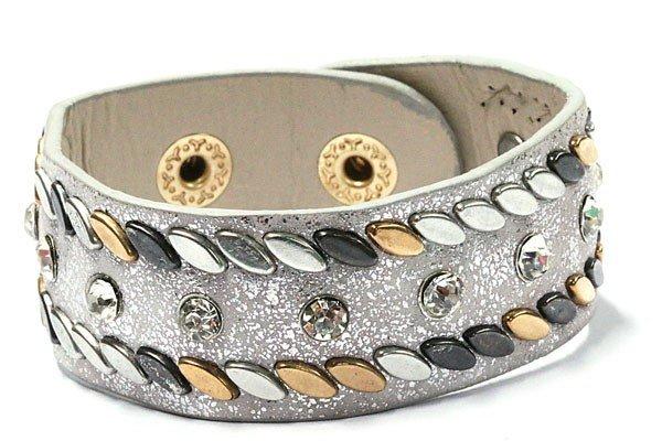 Grijze armband met Studs en Stras Steentjes