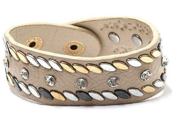 Beige armband met Studs en Stras Steentjes