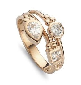 New Bling Zilveren Rose Gold Plated ring Wit CZ
