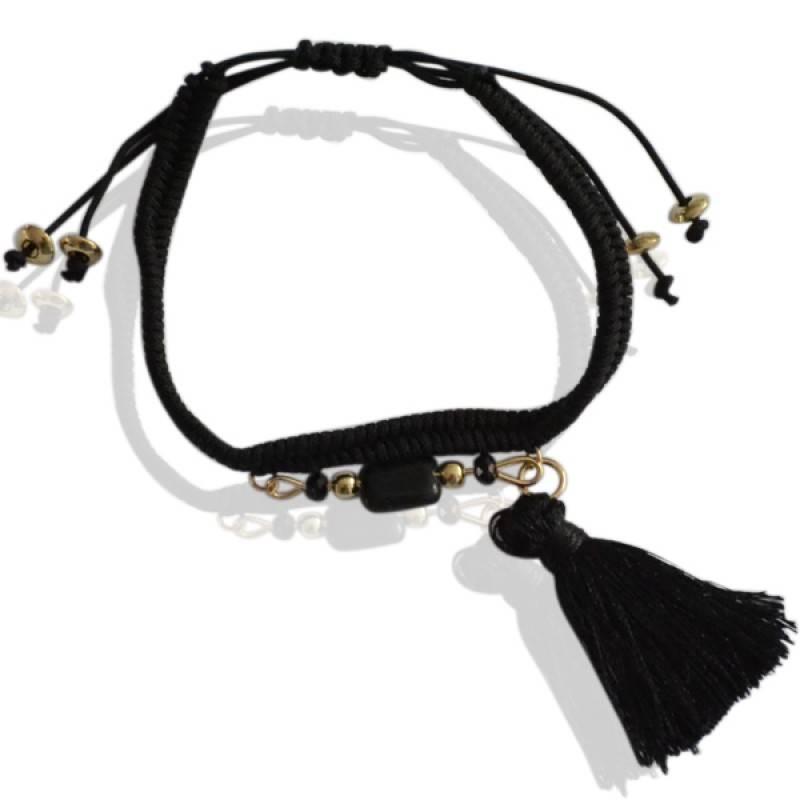 Sazou Jewels Armband Black Brush kwastje en treksluiting
