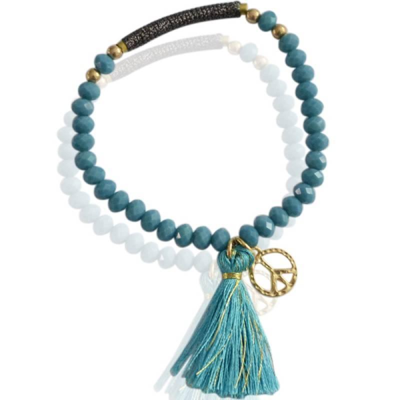 Sazou Jewels Turquoise elastische kralen armband met kwastje en peace bedel