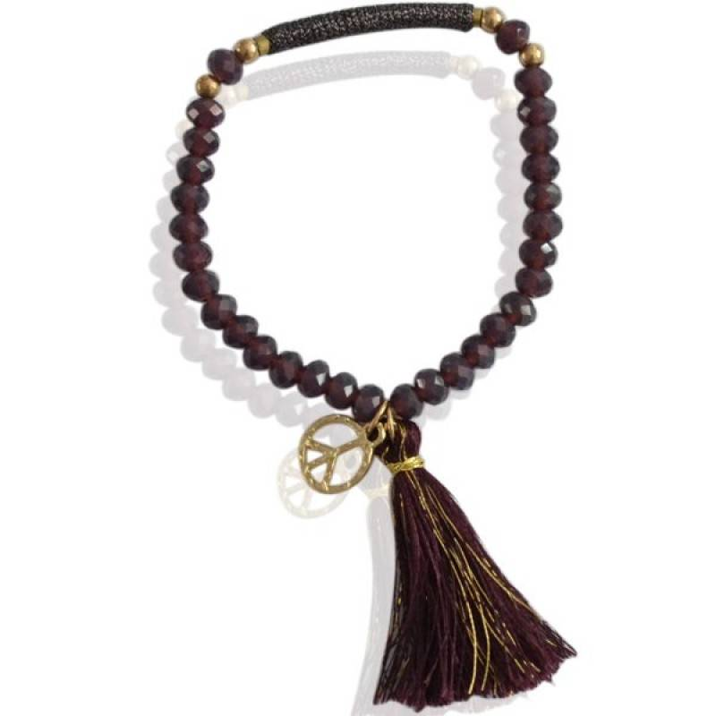 Sazou Jewels Purple elastische kralen armband met kwastje en peace bedel