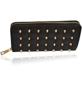 Portemonnee zwart met gouden Studs